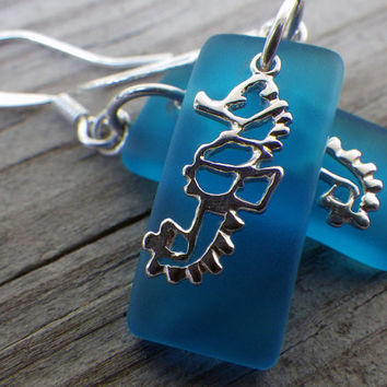 Blue beach glass and sterling silver seahorse earrings