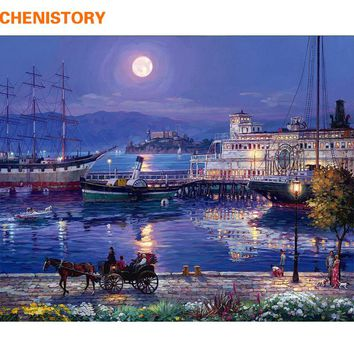 CHENISTORY Picture Seaside Night DIY Painting By Numbers Modern Wall Art Canvas Painting Acrylic Handpainted For Living Room Art
