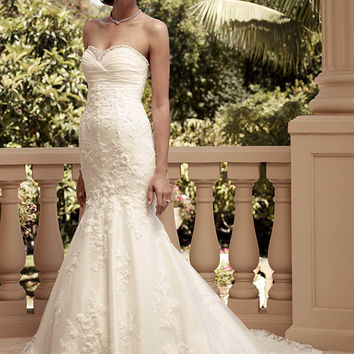 Casablanca Bridal 2115 Strapless Beaded Lace Taffeta Wedding Dress