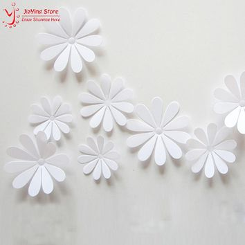 12Pcs/Set Vintage 3D Flower Wallpaper Sticker Kitchen Bathroom Decal Diy Baby Wall Stickers For Kids Home Deocr Living Room