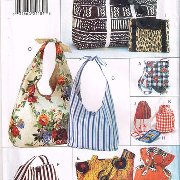 Butterick Sewing Pattern 3925 Handbag Purse Pocketbook Tote Carryall Market Bag Drawstring Duffle Uncut