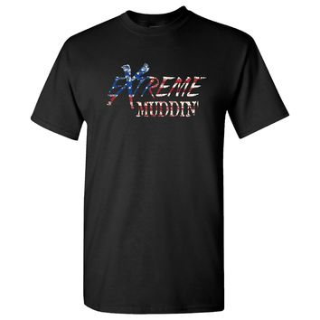 Extreme Muddin' Patriotic American Flag on a Black T Shirt
