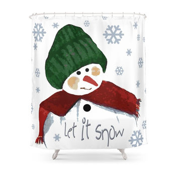 Society6 Let's Build A Snowman, Let It Snow Shower Curtains