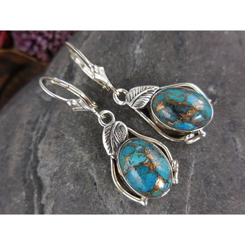 Turquoise  .925 Sterling Silver Leaf Earrings