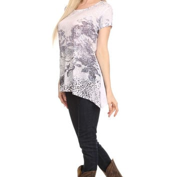 Print long body short sleeve top Curvy Couture