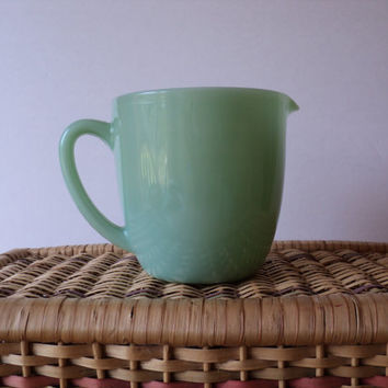 Fire King Pitcher Jadeite Pitcher Green Milk Glass Mid Century Dining Decor Milk Pitcher 1940s Design Breakfast Tableware Mother's Day Gift