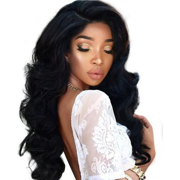 Full Lace Human Hair Wigs For Black Women 180% Density Brazilian Body Wave Wig Nature Color Remy Hair
