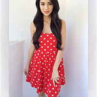 All It Takes Polka Dress- Red