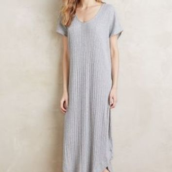 Skin Ribbed Sleep Gown in Grey Size: