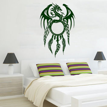 Dragon Wall Decal Dream Catcher Stickers Vinyl Decals Feathers Art Mural Mandala Home Living Room Interior Design Bohemian Bedding Decor KI5