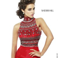 Sherri Hill Beaded Halter Top Dress 11204