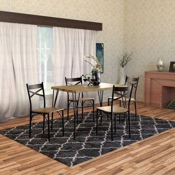 Industrial Style 5 Piece Dining Table Set Of Wood And Metal, Brown And Black By Benzara