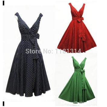 Fre Shipping New Rosa Rosa Vintage 1950s style Polka Dot Summer Party Prom Swing dress