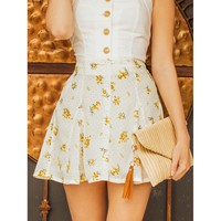 Yellow Above Knee Polka Dot Mini Skirt