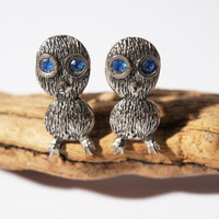Modernist Owl Cuff Links - Bird Ookpik Cufflinks - Pewter Silver Metal - Mid Century - Vintage