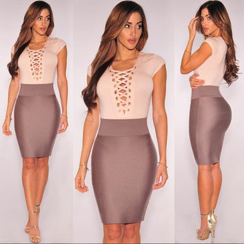 Color Block V-Neck Lace-Up Bodycon Dress