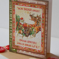 Festive Christmas Craft Greeting Card, Retro Theme Twas the Night Before Christmas Note Card, Santa Sleigh and Reindeer Paper Craft