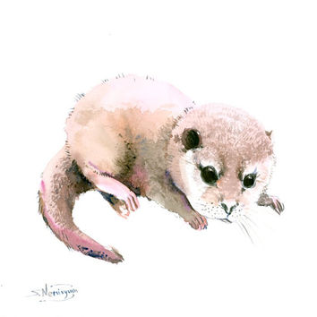 Baby Cute Otter 12 X 12 in original watercolor painting nursery art children room, Otter art, Otter painting wild animals baby