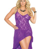 Plus Size Sultry Stretch Lace Gown