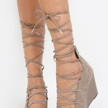 Qupid Flix-104 Lace Up Faux Suede Wedges