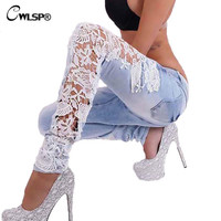 Women Lace Jeans Hollow Out Skinny Denim Jeans