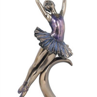 Pas De Poisson Female Ballet Pose Ballerina Bronze Finish Statue 12.25H