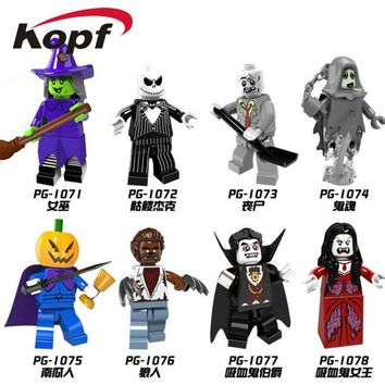 PG8080 Halloween The Horror Theme Movie Vampire Count Zombie Queen Akasha Jack Skellington Building Blocks Children Gift Toys