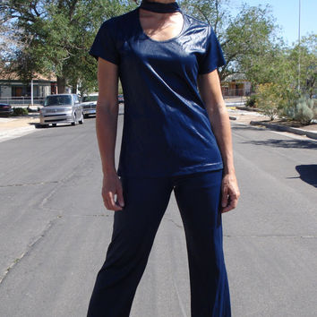 Vintage 1960s Pantsuit Polyurethane Wet Look with Choker Collar 2013350
