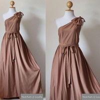 One Shoulder Dress - Bridesmaid Dress Evening Long Gown Caramel Maxi Dress : Prom Queen Collection | Luulla
