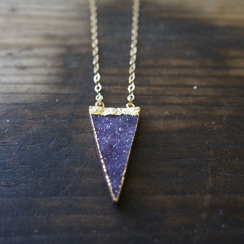 Light Beidge Large Triangle Agate Druzy Gold Filled Necklace Long Golden Necklace