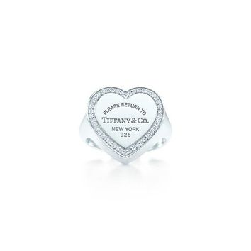Tiffany & Co. -  Return to Tiffany™ heart signet ring in sterling silver with diamonds, large.