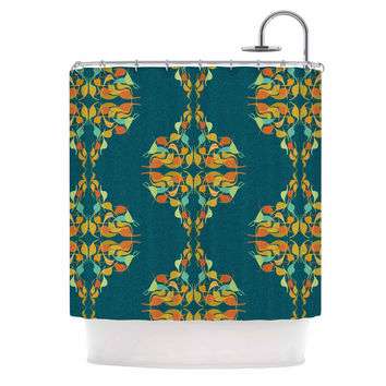 "Dan Sekanwagi ""Turquoise Feast"" Teal Orange Shower Curtain"