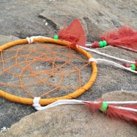 5 inch Dream Catcher, Handmade Small Dreamcatcher, Red Orange Feathers Wall Hanging, Bedroom Decor, Traditional Native American Decor