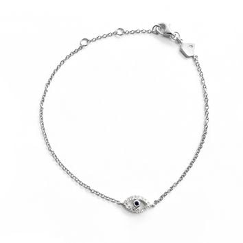 Diamond Evil Eye Bracelet (Includes 18 diamonds)