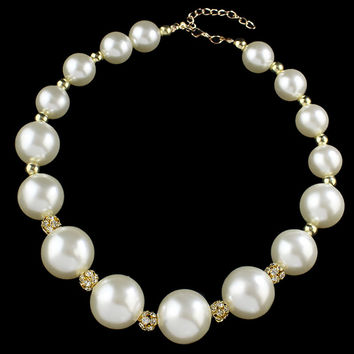 Large 18 Simulated-Pearls Beads From Big To Small Crystal Necklaces & Pendants Statement Necklace Jewelry Women For Gifts Party