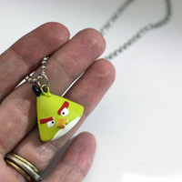 Yellow Angry Bird Necklace from Angry Birds Repurposed Christmas Ornament Charm Pendant Necklace - Kids Jewelry, video game necklace