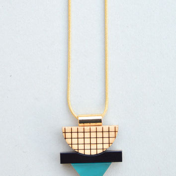 Mini Grid Necklace in Frosted Green by Nylon Sky
