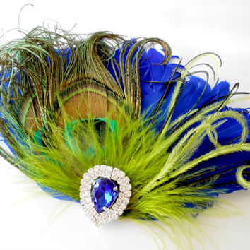 Wedding Feather Hair Accessories, Feather Fascinator, Bridal, Hair Piece, Peacock, Cobalt Blue, Green, Hair Clip, 1920s, Gatsby