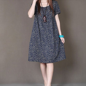 6645 Vintage Cotton/Linen Elegant Maternity Dress Plus Size 2XL Loose Clothes For Pregnant Women Wear Pregnancy 2014 New Summer = 1946663428
