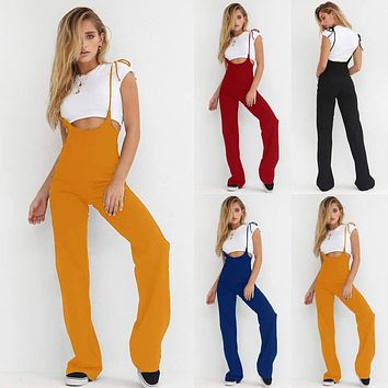 Womens Summer High Waist Dungarees Jumpsuits Pants Overalls Suspenders Trousers