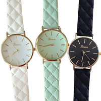 Men's Women's Fashion Geneva Checkers Leather strap dial Quartz casual bracelet Watch (With Thanksgiving&Christmas Gift Box)= 1931672772