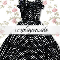 Lolita Costumes Cotton Black Polka Dot Sleeveless Sweet Lolita Dress [T110834] - $73.00