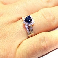 Sapphire Heart Promise Ring on Hand - Beautiful Promise Rings