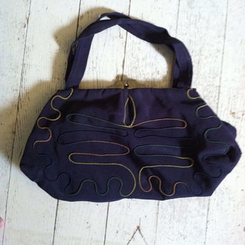 Vintage 1940s handbag / 40s clutch / vintage embroidery bag