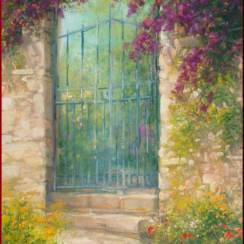 Italian painting gate with flowers original oil on canvas of Antonietta Varallo Italy Italia