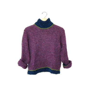 Vintage WOOL sweater. Cropped SPECKLED sweater. IRISH Hand Knit Sweater. Preppy turtleneck sweater. Warm Purple Blue Green Pullover Womens S