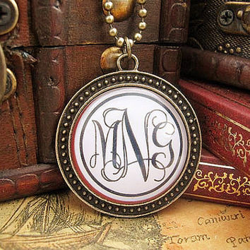 Custom Monogram Glass Pendant , Personalized Picture Necklace , Art Picture Necklace , 30 mm Vintage Style Pendant , Bronze , Chain Free