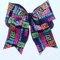 Softball-Mom-Fast pitch-Slow Pitch-Hair-Bow-Accessories-Handmade-Girls-Gifts for Her-Team