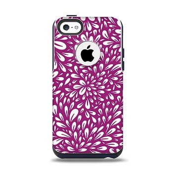 The Purple & White Floral Sprout Apple iPhone 5c Otterbox Commuter Case Skin Set
