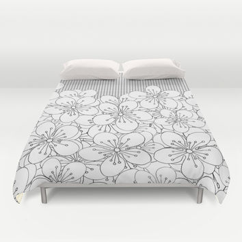 Cherry Blossom Grid - In Memory of Mackenzie Duvet Cover by Project M